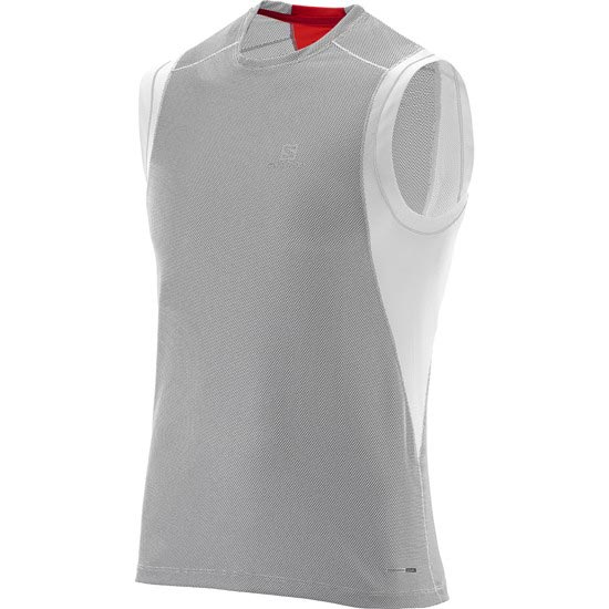 Salomon Trail Runner Sleeveless Tee - White/Grey