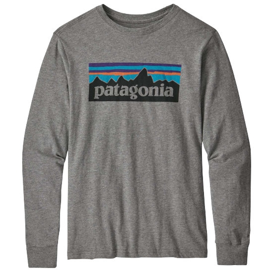 Patagonia Long-Sleeved Graphic Organic T-Shirt Jr - Logo/Gravel Heather