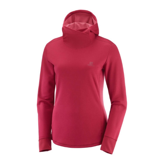 Salomon Agile LS Hoodie W - Rio Red/Heather